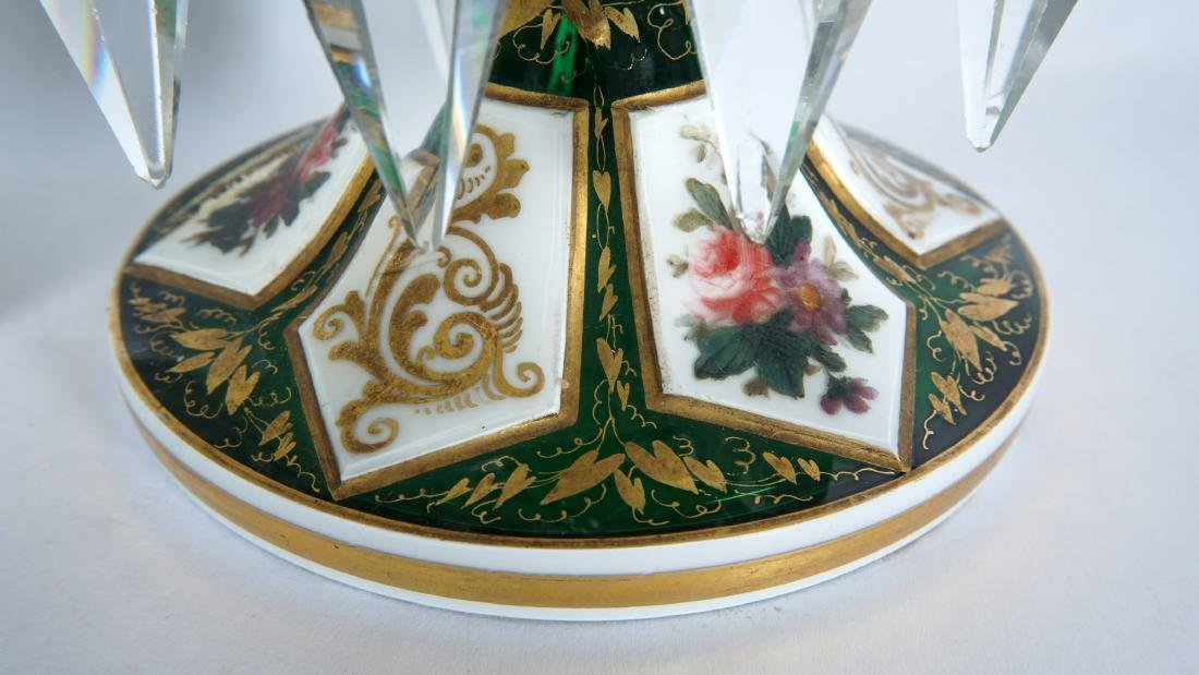 Pair Green Bohemian Glass Lusters - 6