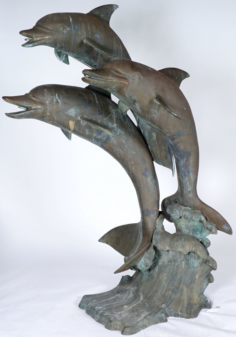Large Triple Dolphin Bronze Outdoor Fountain