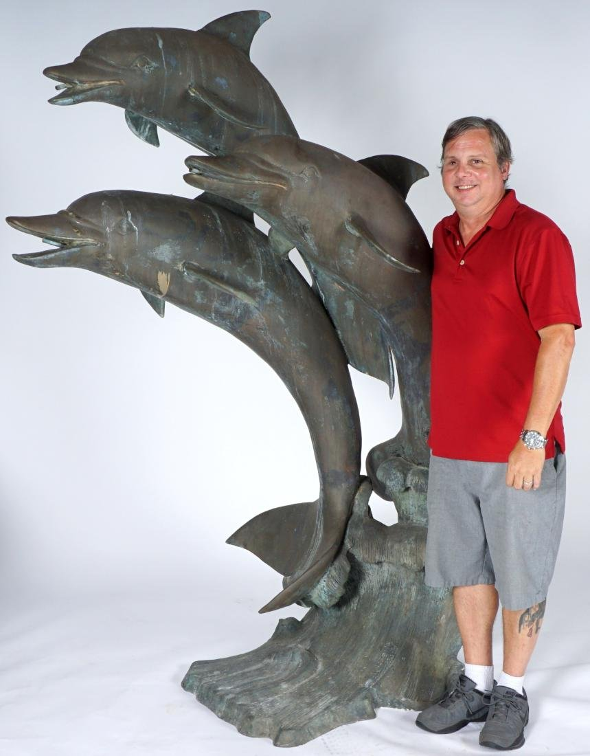 Large Triple Dolphin Bronze Outdoor Fountain - 3