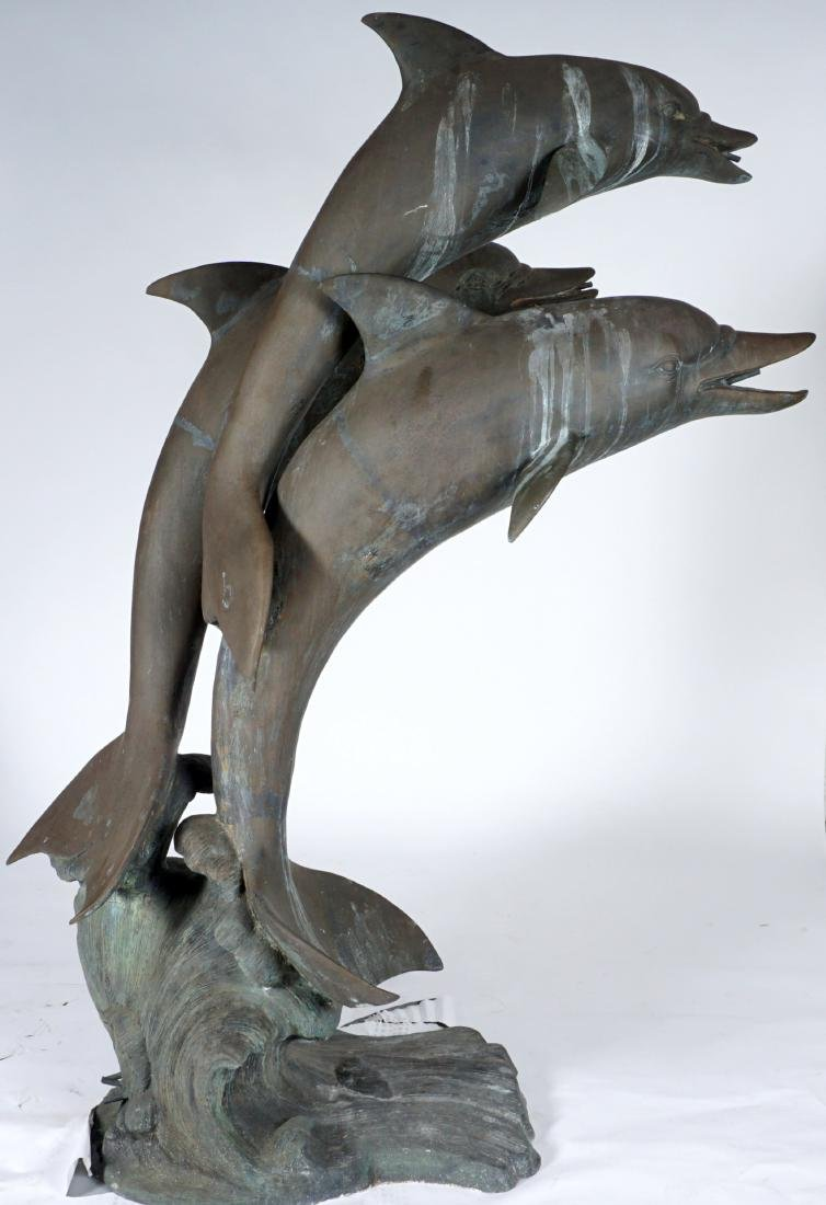 Large Triple Dolphin Bronze Outdoor Fountain - 7