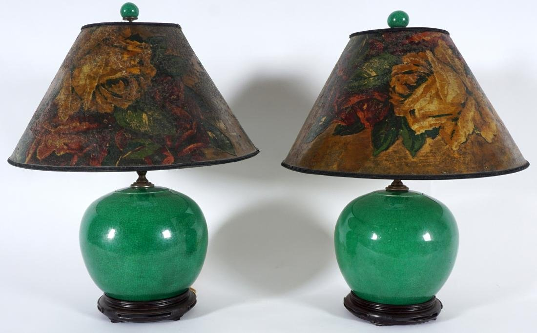 Pair Chinese Green Crackle Glaze Lamps