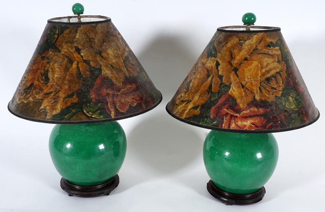 Pair Chinese Green Crackle Glaze Lamps - 2