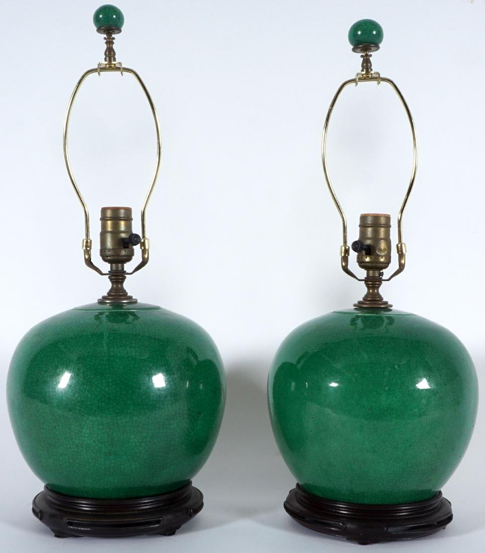 Pair Chinese Green Crackle Glaze Lamps - 4