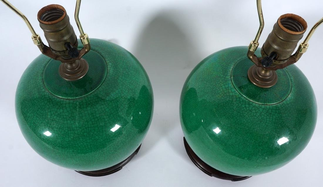 Pair Chinese Green Crackle Glaze Lamps - 5