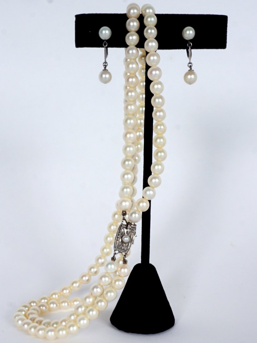 Mikimoto Pearl Suite Necklace and Earrings