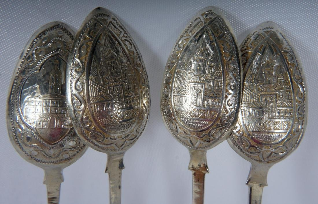 4 Engraved Russian Silver Spoons - 3