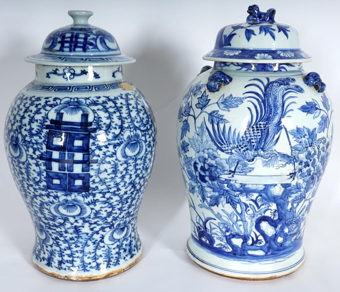 2 Chinese Blue & White Decorated Ginger Jars