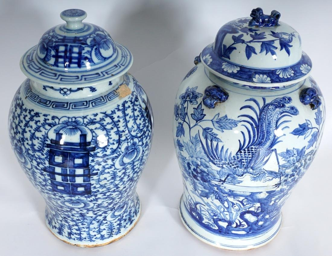 2 Chinese Blue & White Decorated Ginger Jars - 2