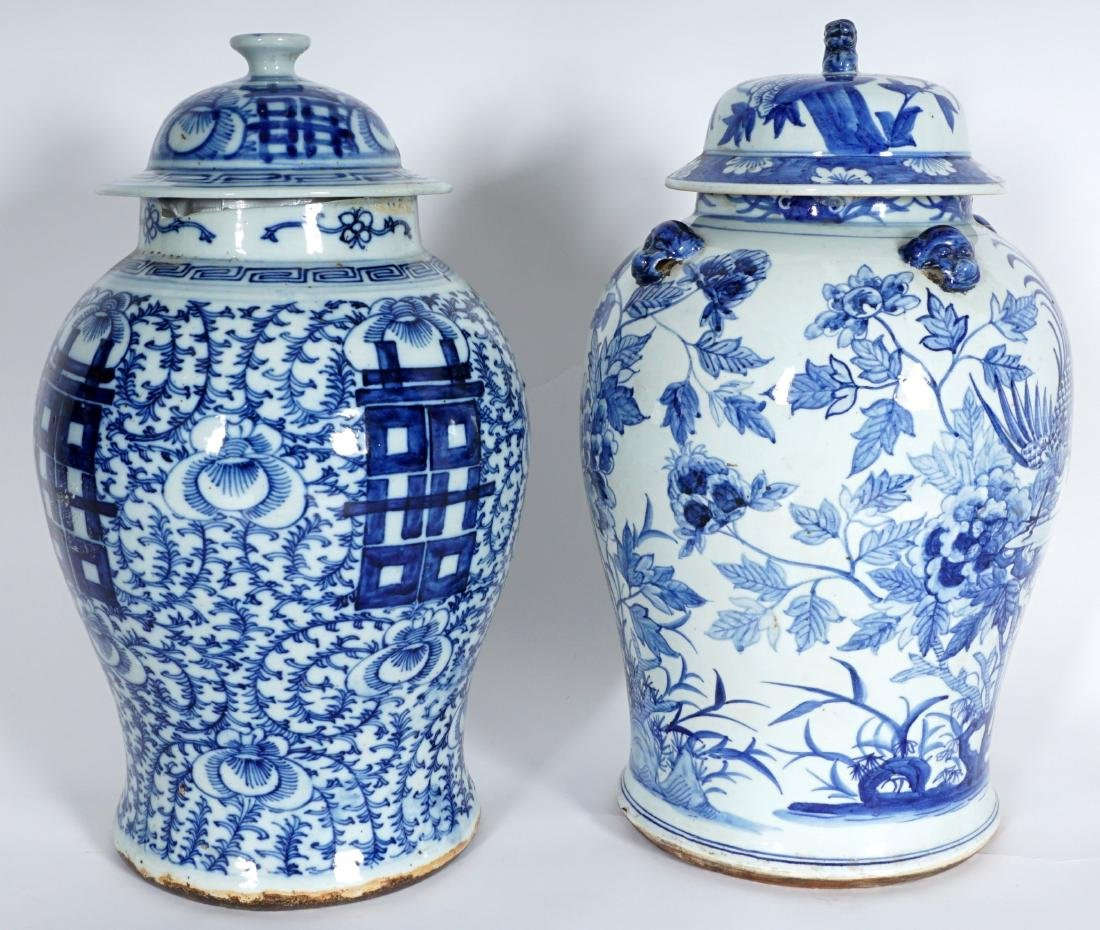 2 Chinese Blue & White Decorated Ginger Jars - 4