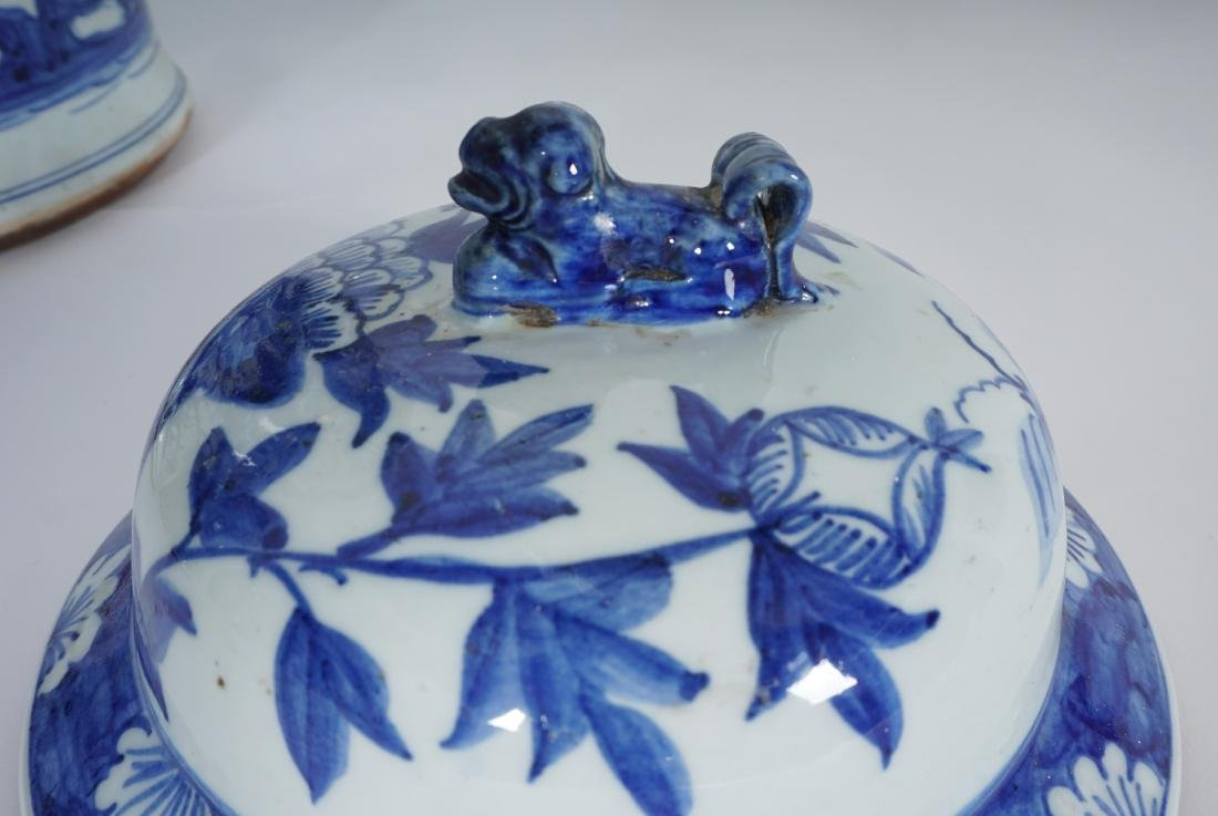 2 Chinese Blue & White Decorated Ginger Jars - 5