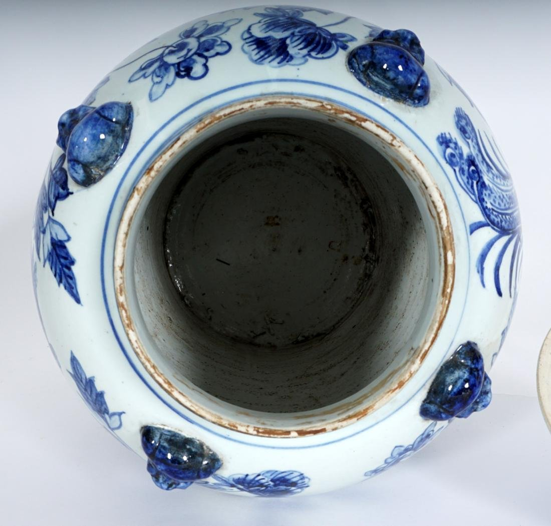 2 Chinese Blue & White Decorated Ginger Jars - 6