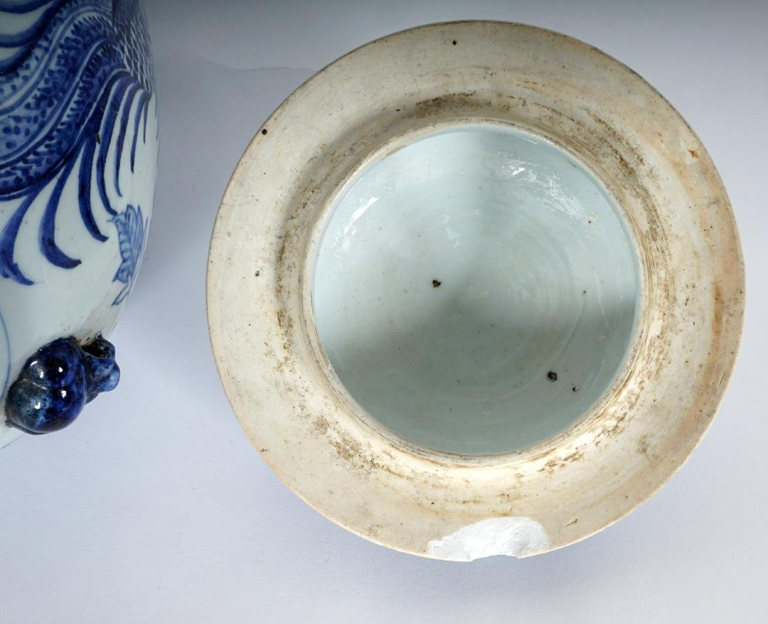 2 Chinese Blue & White Decorated Ginger Jars - 7