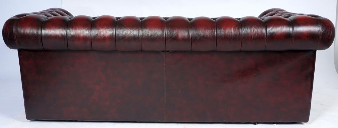 Red Leather Chesterfield Sofa - 5