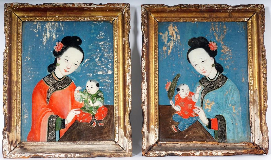 Pair Chinese Reverse Painted Portraits