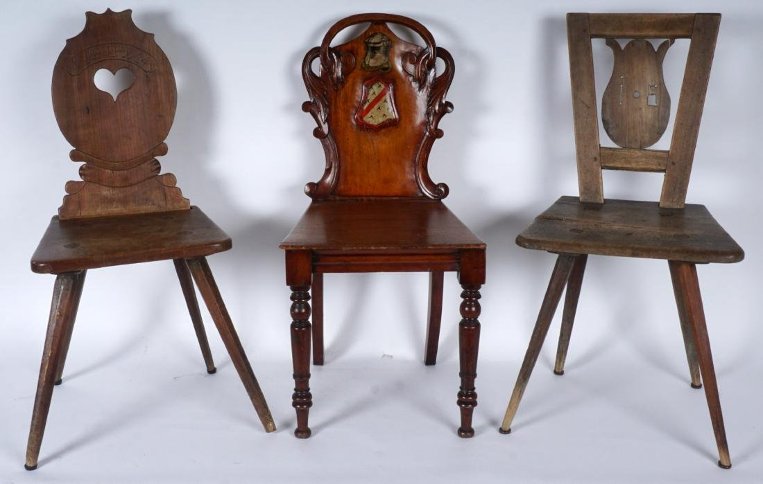 Three 19th Century Carved Hall Chairs