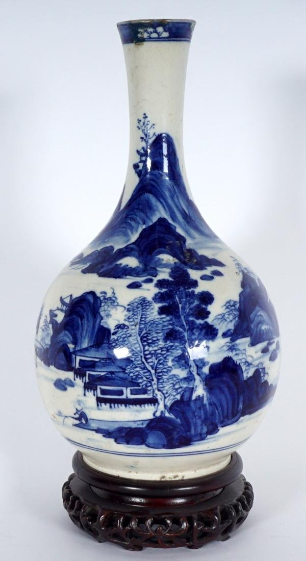 Chinese Blue & White Export Bottle Vase