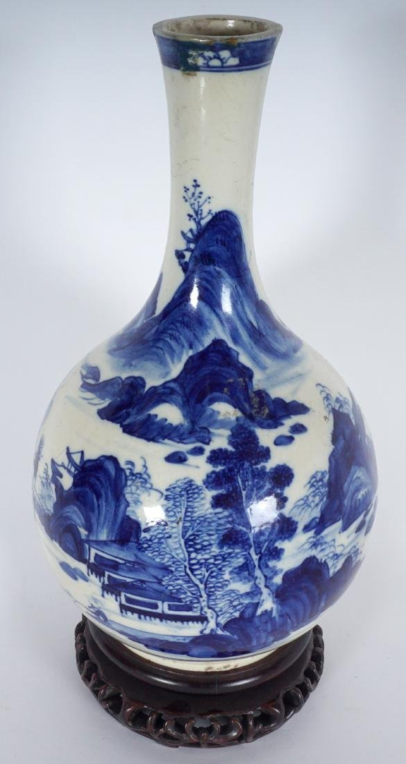 Chinese Blue & White Export Bottle Vase - 2