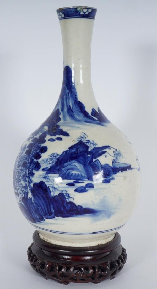 Chinese Blue & White Export Bottle Vase - 3