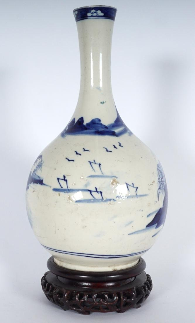 Chinese Blue & White Export Bottle Vase - 4