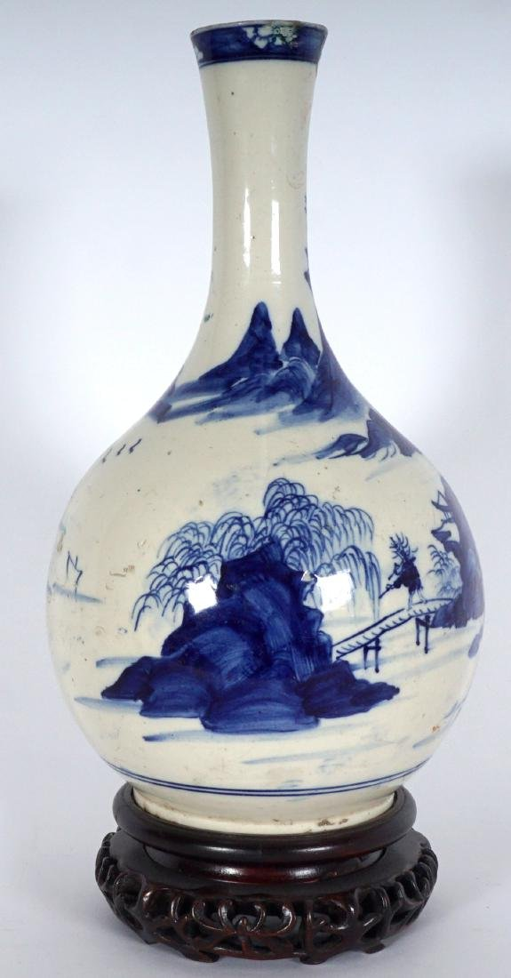 Chinese Blue & White Export Bottle Vase - 5