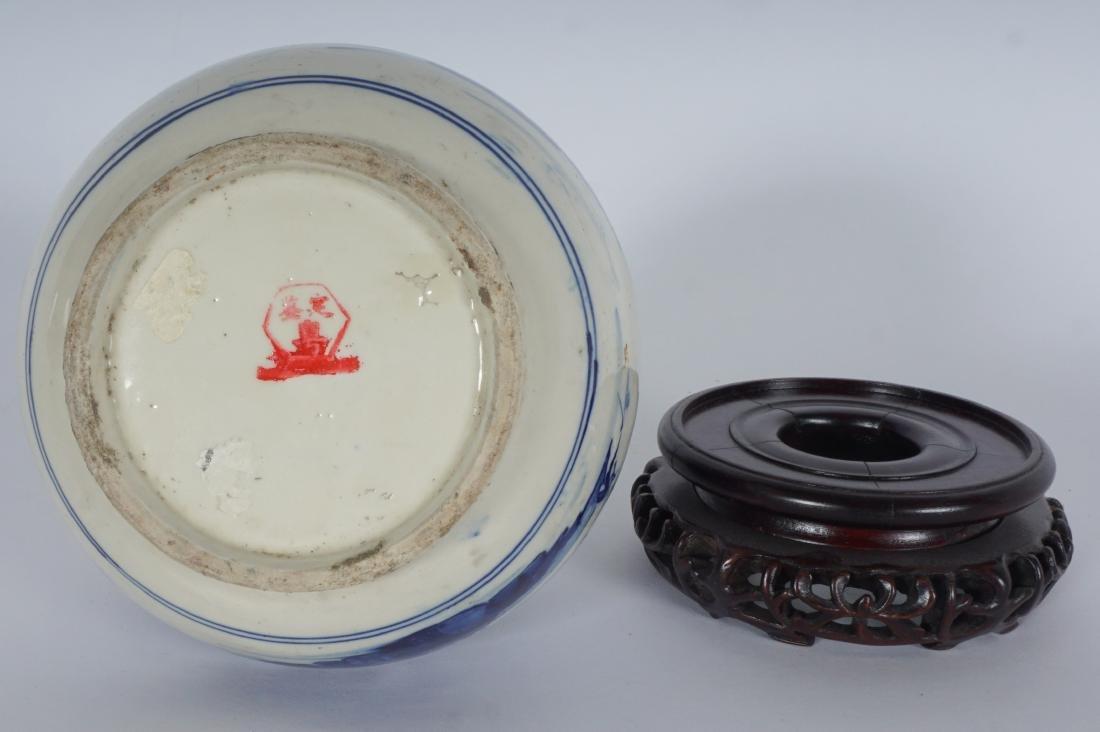 Chinese Blue & White Export Bottle Vase - 7