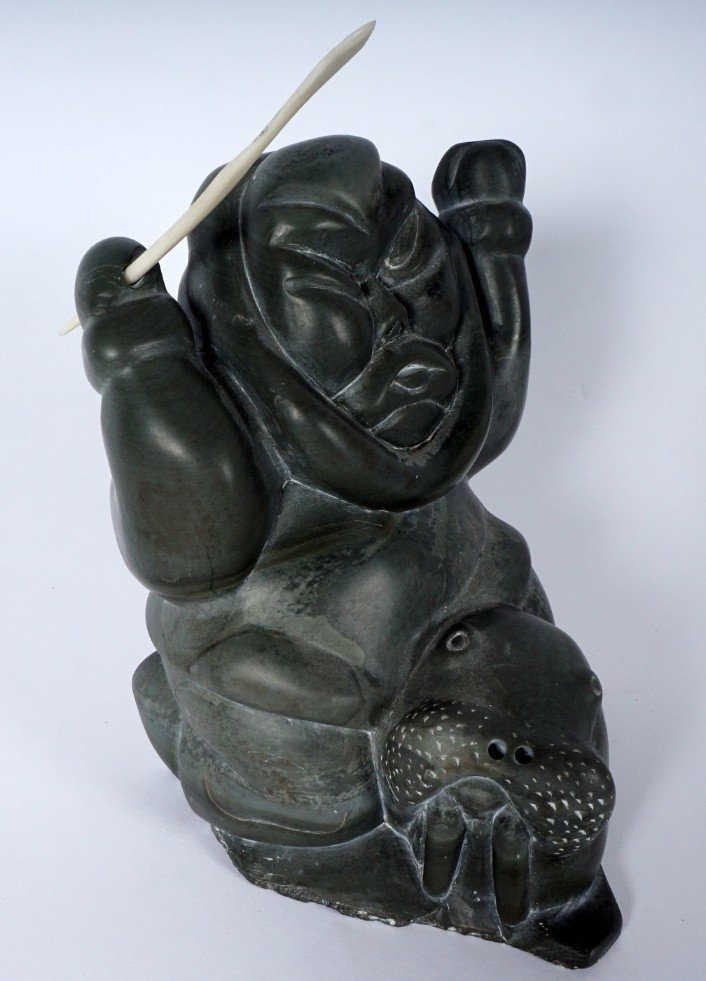 Inuit Carved Soapstone Hunter & Walrus