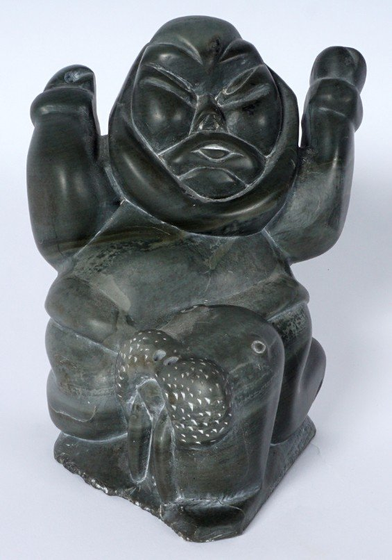 Inuit Carved Soapstone Hunter & Walrus - 2