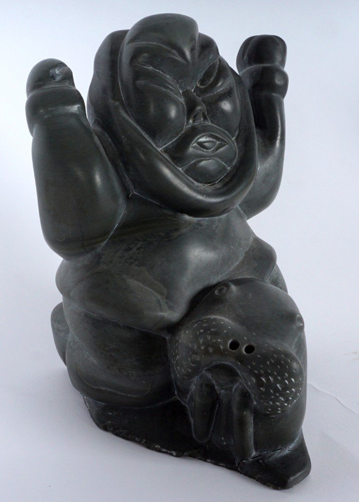 Inuit Carved Soapstone Hunter & Walrus - 3