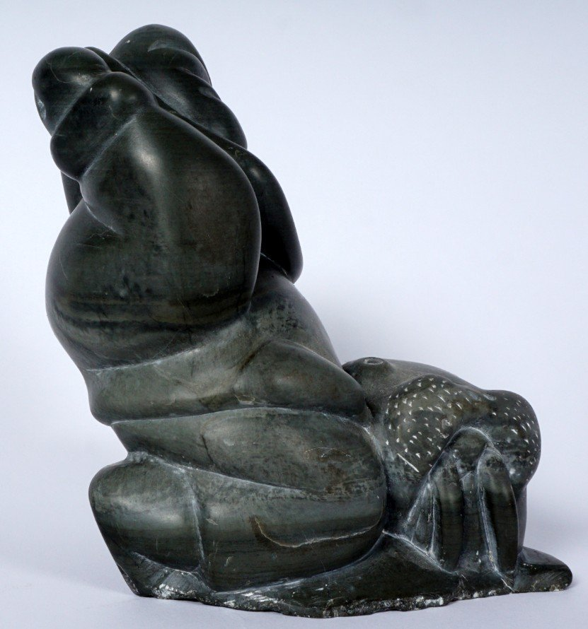 Inuit Carved Soapstone Hunter & Walrus - 4