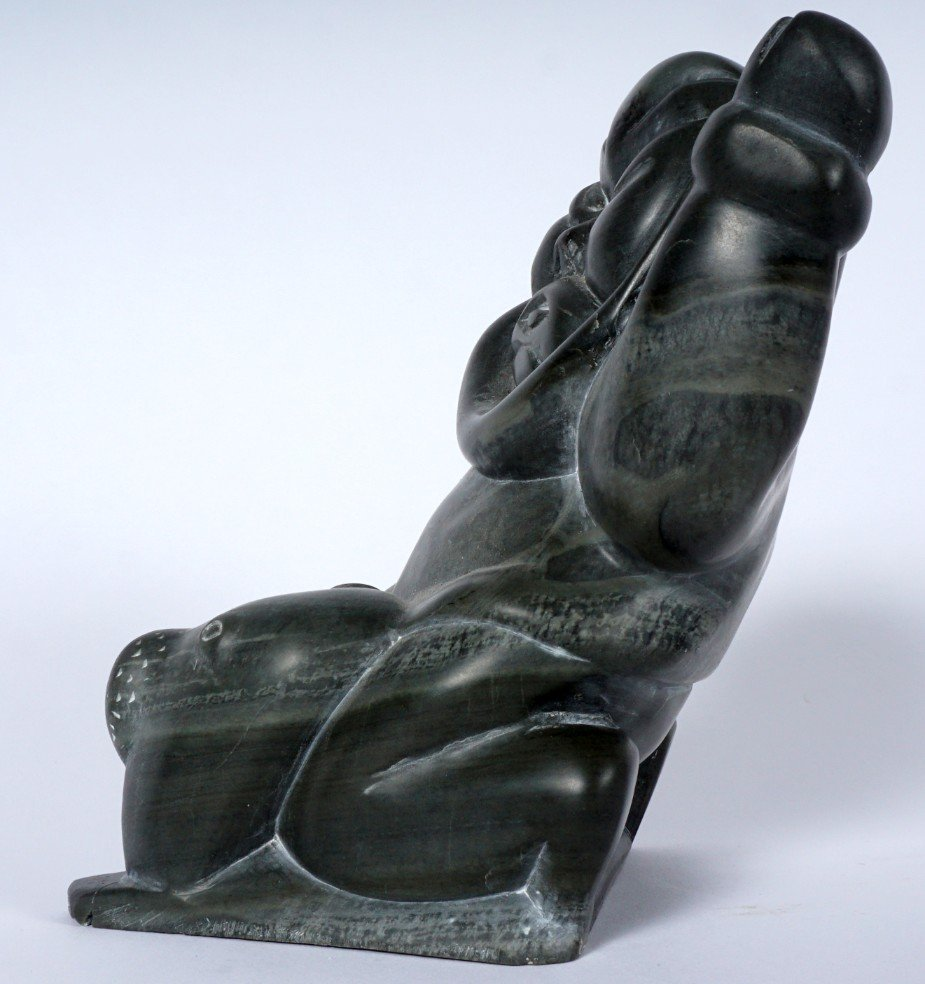 Inuit Carved Soapstone Hunter & Walrus - 6