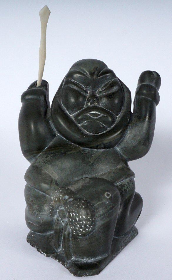 Inuit Carved Soapstone Hunter & Walrus - 8