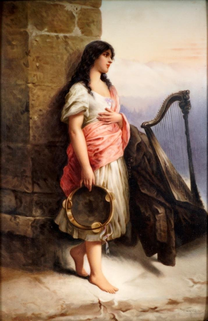 KPM Porcelain Plaque of Gypsy With Tambourine