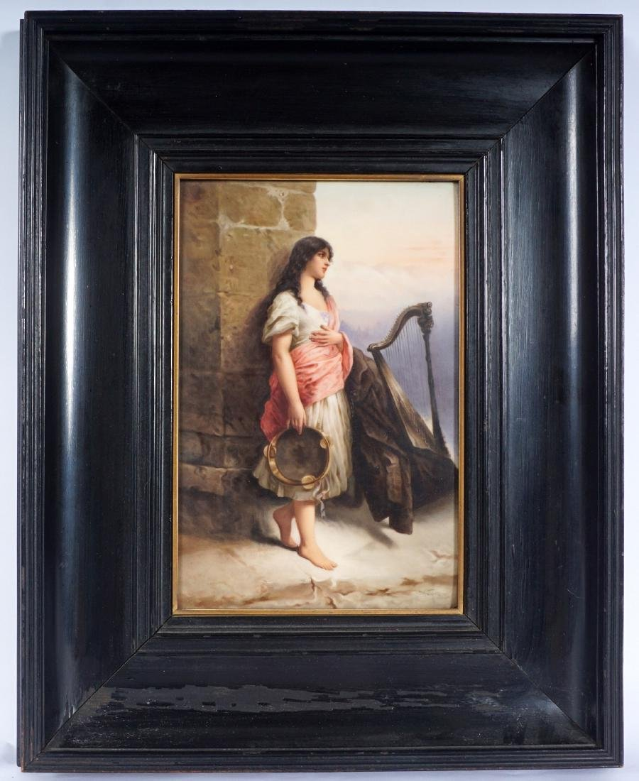 KPM Porcelain Plaque of Gypsy With Tambourine - 2