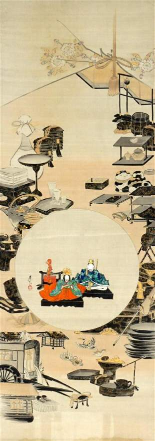 Shibata Zeshin Hinamatsuri Ink and Color Scroll