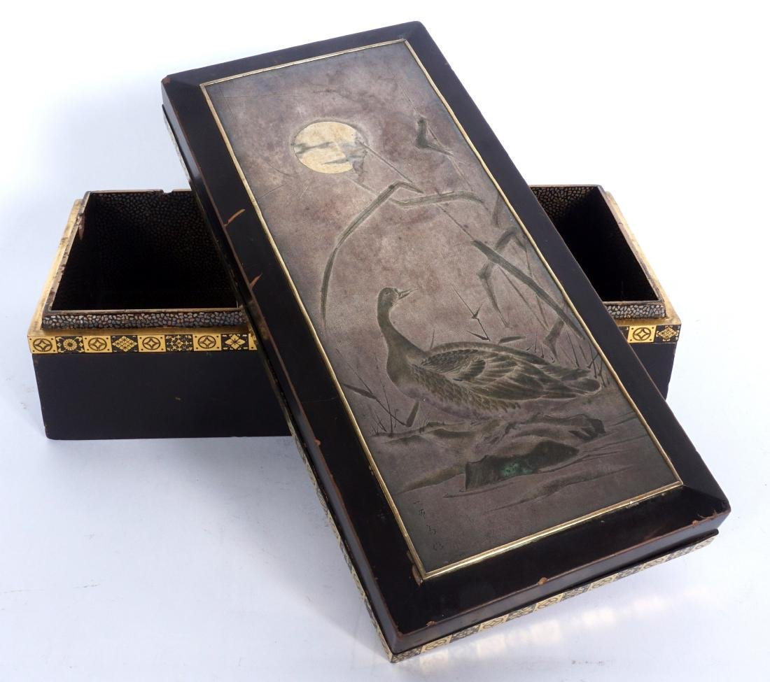 Japanese Meiji Mixed Metal Lacquer Box