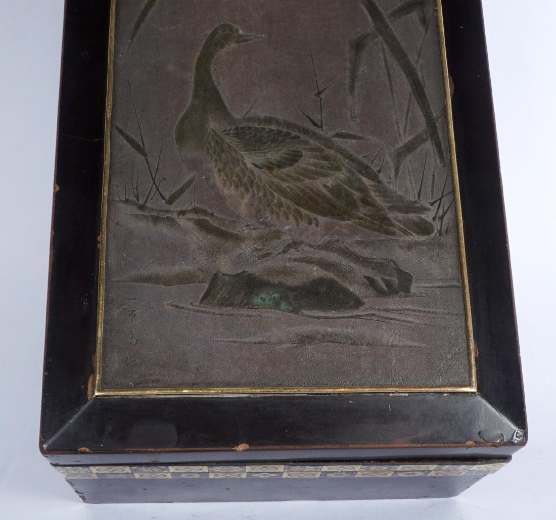 Japanese Meiji Mixed Metal Lacquer Box - 9