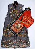 2 Qing Dynasty Embroidered Silk Robes