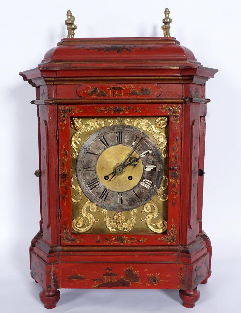 Continental Red Chinoiserie Bracket Clock