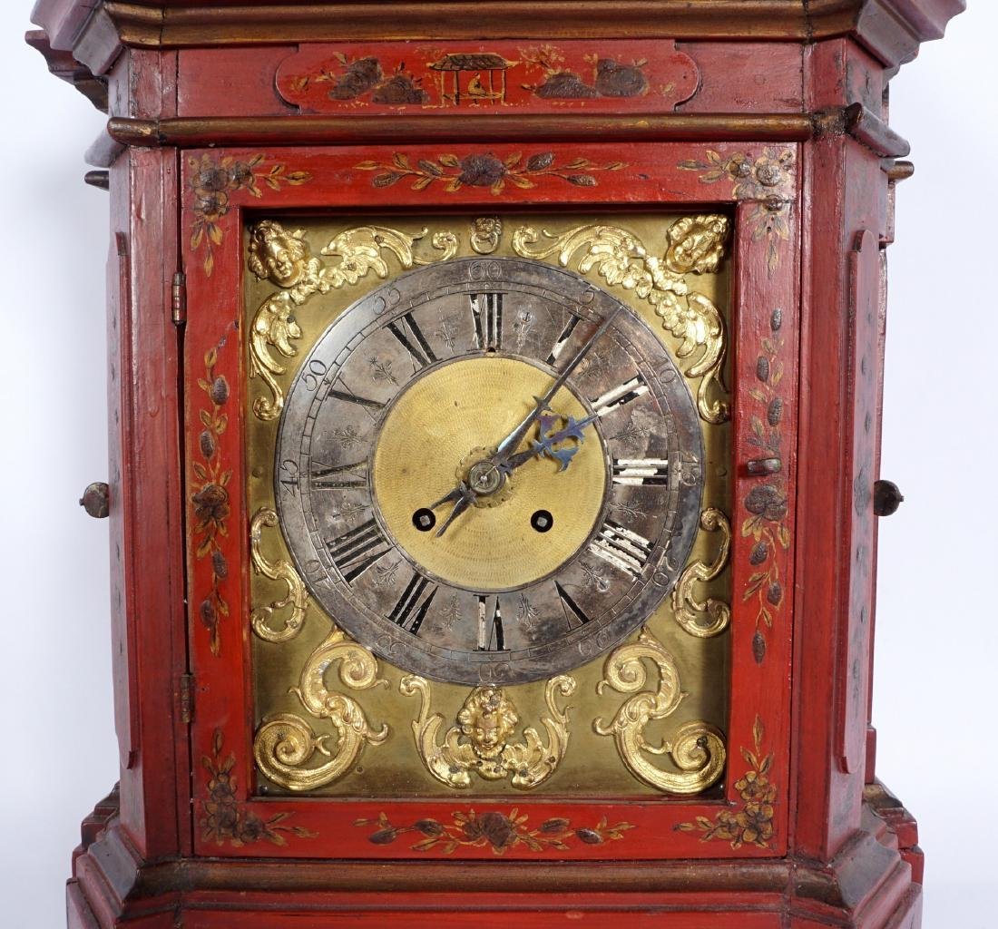 Continental Red Chinoiserie Bracket Clock - 2
