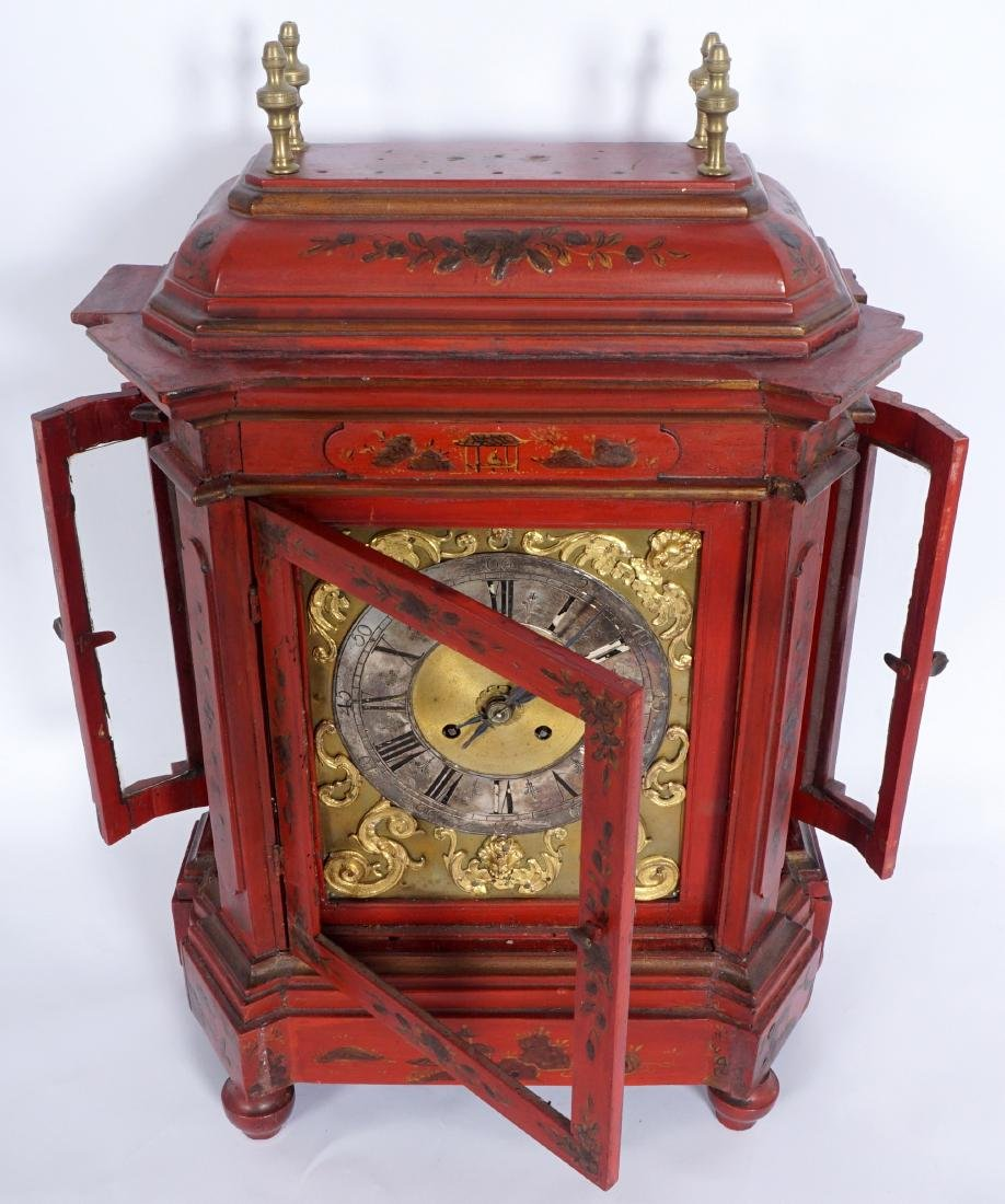 Continental Red Chinoiserie Bracket Clock - 3