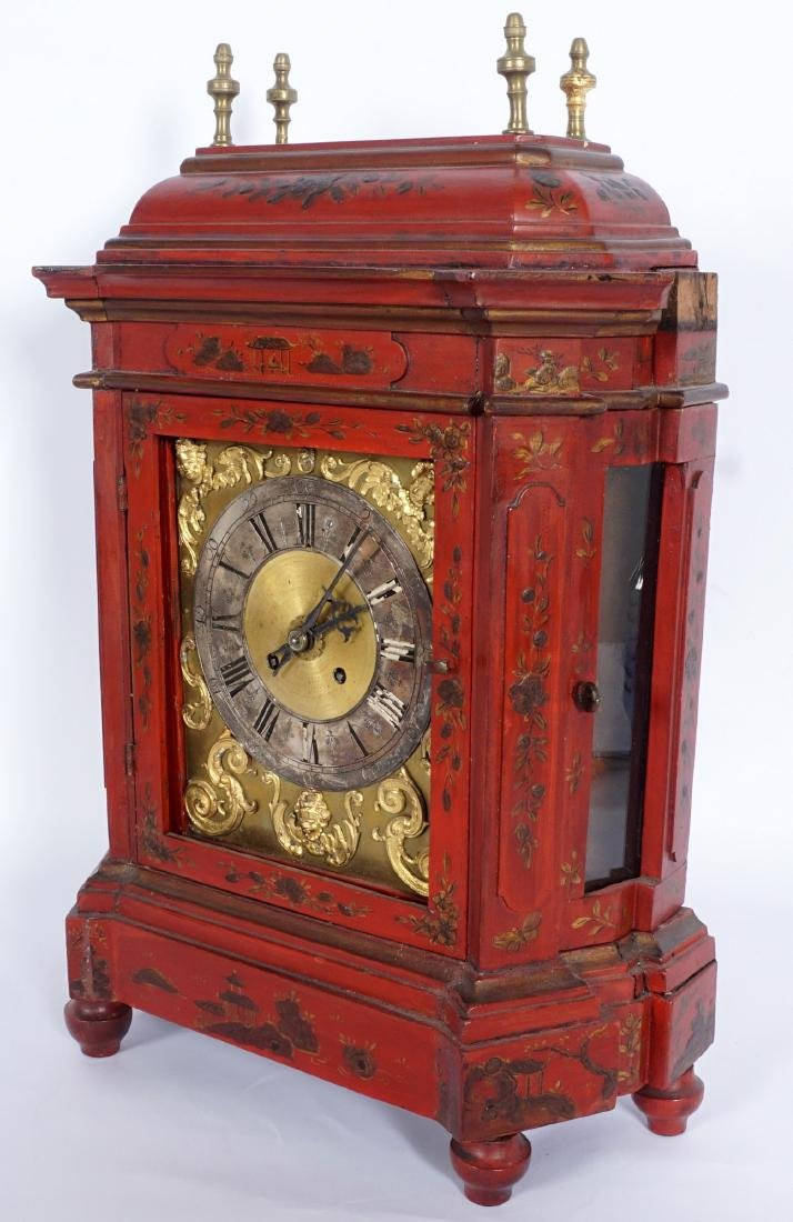 Continental Red Chinoiserie Bracket Clock - 4