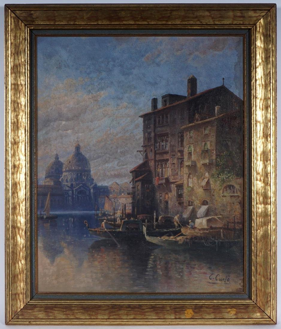 Karl Kauffman Venice Canal Painting Signed Carlo - 2