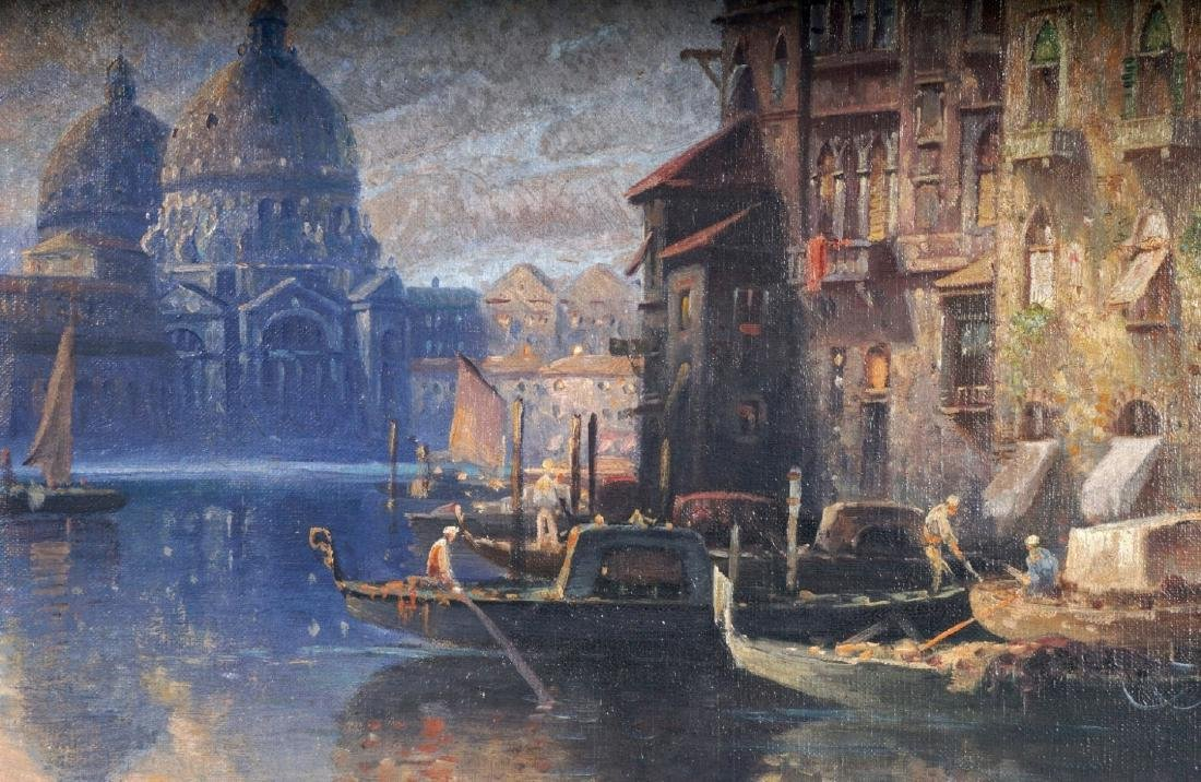 Karl Kauffman Venice Canal Painting Signed Carlo - 3