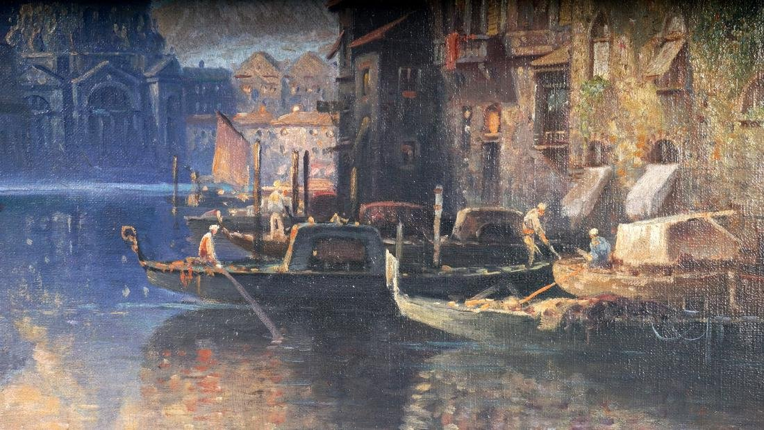 Karl Kauffman Venice Canal Painting Signed Carlo - 4