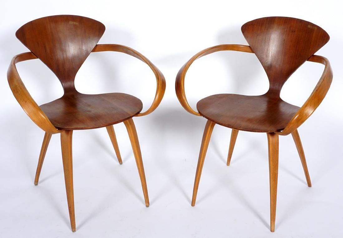 Pair Norman Cherner Bent Wood Arm Chairs