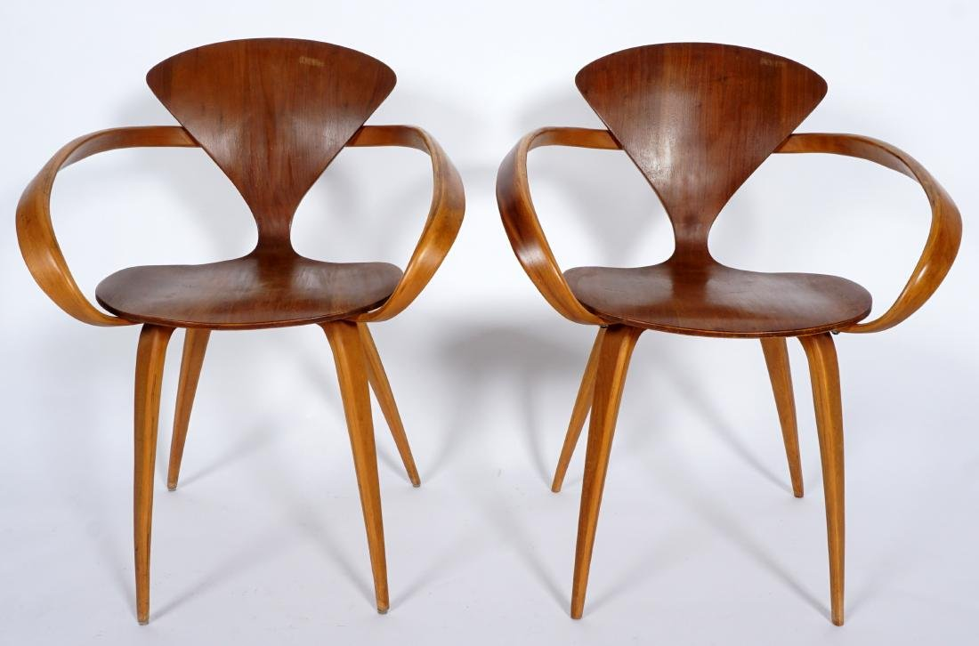 Pair Norman Cherner Bent Wood Arm Chairs - 2