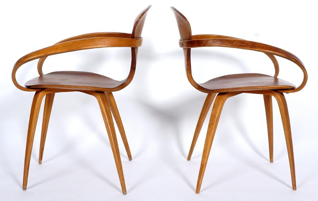 Pair Norman Cherner Bent Wood Arm Chairs - 3
