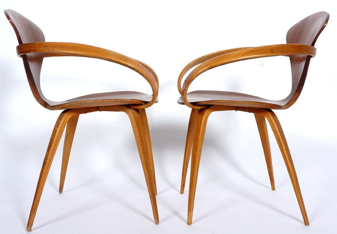Pair Norman Cherner Bent Wood Arm Chairs - 4