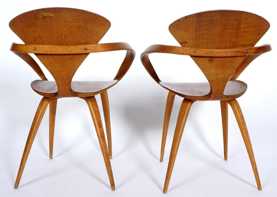 Pair Norman Cherner Bent Wood Arm Chairs - 5