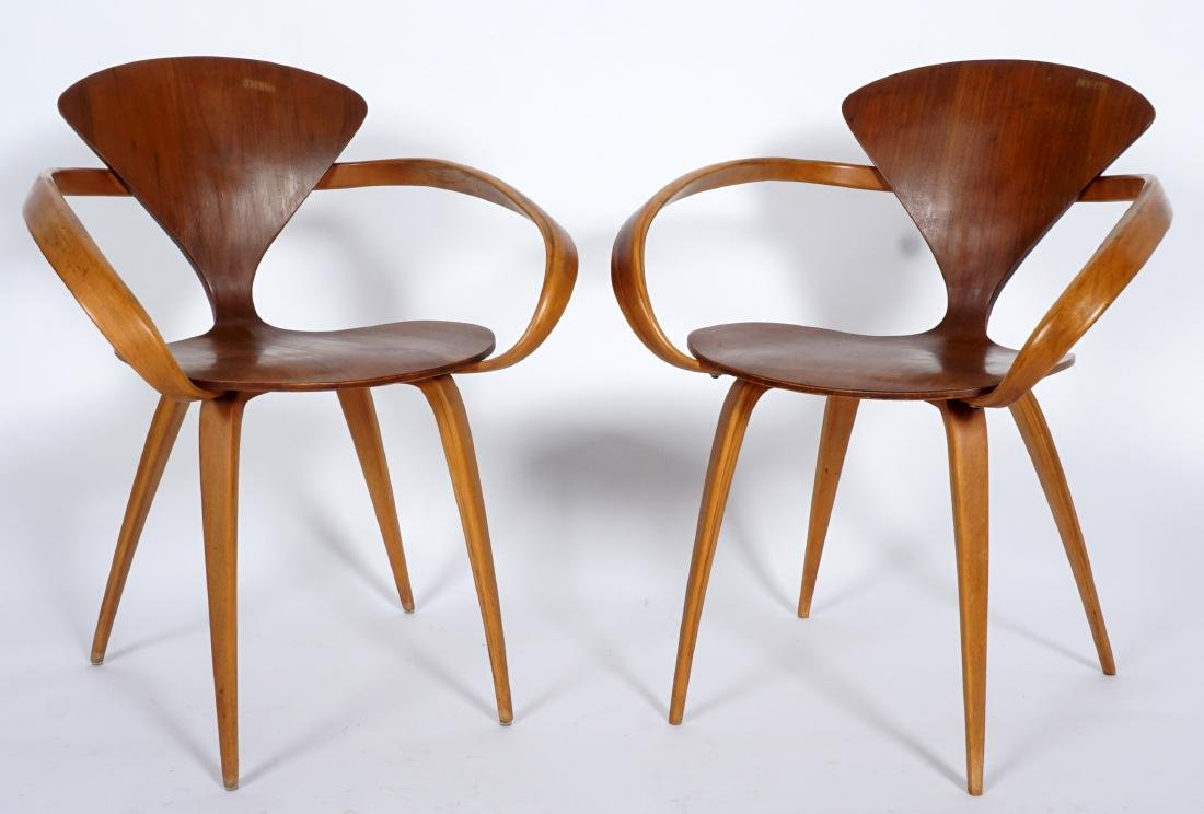 Pair Norman Cherner Bent Wood Arm Chairs - 6
